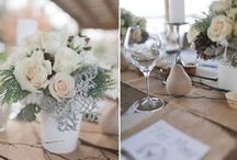 Winter holiday weddings / Christmas and winter styled wedding floral designs