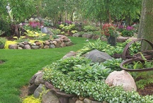 """Gardening Landscaping/Hardscaping / Rock, Concrete, Brick, Wood, Slopes, Hills, retaining walls, paths, landscaping plans & recommendations from professional landscapers. For more ideas, please take a look at some of my other """"Gardening"""" boards, my """"DIY Outdoors"""" board, and my """"Hosta"""", """"Heuchera"""", and """"Edible Garden Tips and Tricks"""" boards. Thanks for stopping by. / by KCRIK"""