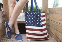 "All Americana / Promote your patriotism with timeless red white & blue style. If you want to wear stars and stripes from head to toe, we've got shoes and bags to complete ""the look."""