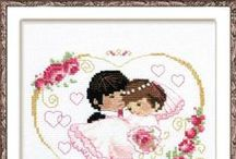 Greeting cards, birth or wedding samplers