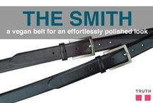"The Smith Vegan Belt / If you liked our Dexter belt, then you will also fall for the Smith Belt. Just like all of our products, this one's vegan and made of Truth's ""genuine non-leather"". It's even filled with recycled car tires! The name of this belt is inspired from the band The Smiths. $68.00 www.truthbelts.com / by Truth Belts - Vegan Fashion"