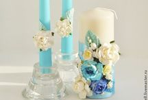 glass and candle decorations