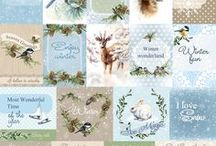 A Taste of Winter / A traditional winter collection. The papers come in a wonderful colour palette of beige, white and blue and they are decorated with the most adorable patterns, such as birds, rabbits, deers and squirrels.