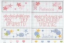 x stitch alphabets / various alphabets in cross stitching|