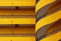 Yellow in architecture / Buildings, facades, interiors