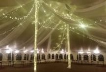 Tent Decor / Decorating tents with fabric and lighting.