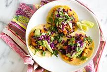 taco recipes / Healthy and easy gluten free taco recipes with fish, steak, vegetarian options!