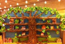 Treasures in a Tree display / This magical tree in the children's room at the Central Library was created by librarian Blythe. She shared her photos showing the steps to making Braeburn Greenleaf Goodwood III. The tree changes with the seasons.