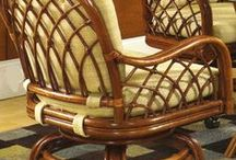 Caster Chairs / Rattan and Wicker Swivel-Tilt Caster Desk and Dining Chairs in Every Style and Stain