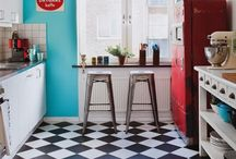 1950's inspired colourful up-cycled interior / A colourful mix & match child friendly interior using innovative ideas for up-cycled seating & storage with hints of the 1950's era.
