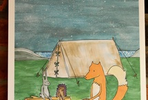 Campfire / Based on my A3 open edition print, my campfire board is inspired by a camping adventure of 3 little animals