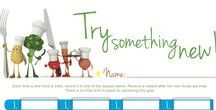 Kids healthy eating tools / Ideas and tools to help motivate kids to eat healthier.  Fun charts help set goals for trying new foods, tasting different colorful fruits and vegetables, and more.