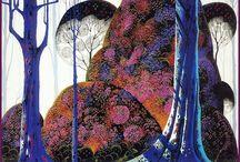 Los árboles de Eyvind Earle / Me encantan sus pinturas de árboles y paisajes solitarios y silenciosos.