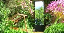 Garden Mirrors / A little collection of garden mirrors. Decorating a garden with mirrors is a lovely way to add light to a dark corner and give glimpses into other areas of the garden.