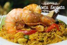 Peixes e frutos do mar / paella valenciana, polvo, camarão, lulas, mariscos, lamb lamb, carangueijo, peixe, salmão, sushi, sashimi, bacalhau