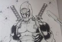 artwork encrages ink comics et manga / illustrations, dessin et encrage sur papier fine art differents travaux que j'ai dessiné comme goldorak, iron man des comics aux manga