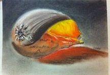 pastels / des tableaux au pastel : sec, à l'huile....