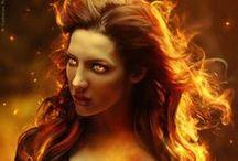 Asherah / - Asherah - Serafina d'Inferno - Scarlet Hair - Fiery Eyes - Golden Skin - The Phoenix - The Immortal One - Mistress of Elements - Six-Winged  - Fire  - Healer