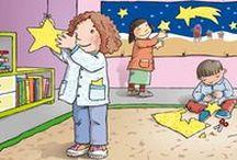 TARJETAS INFANTILES / Ilustraciones de tarjetas escolares para niños de hasta 3 años. AUTONOMÍA - HÁBITOS - CONCEPTOS