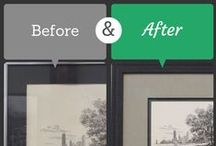 """Framing Transformations / The art of custom framing will transform your tired or lackluster wall art from """"oh my"""" to """"oh wow!"""" Sometimes a total redesign is needed. Other times a simple mat or moulding change makes all the difference."""