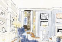 Renderings and Whatever I feel Like Painting/Drawing / Drawings, paintings, watercolor renderings of interiors
