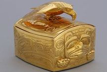 """First Nations, Haida: Bill Reid & other Haida Artists/Culture / Bill Reid (1920-1998), Haida master goldsmith/carver/sculptor/writer & one of Canada's greatest artists, had a Haida mother & European father. Working in Toronto in the early '50s, he studied jewelry-making @ Ryerson Polytechnical Institute & European jewelry-making @ the London School of Design. His passion for Haida art was kindled by a visit to Haida Gwaii in '54 where he saw a pair of bracelets engraved by a great-uncle, Charles Edenshaw, after which, he said, """"the world was not the same."""""""