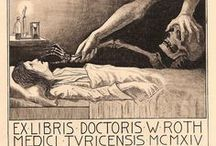 Exlibris / bookplates - medical / Bookplates (exlibris) made for doctors, physicians, surgeons, psychiatrists and other medical professionals as wel as medical institutions