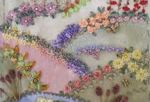 CRAZY QUILT  EXAMPLES PLUS GYPSY CRAZY QUILT / FYI TO DO ENCRUSTED CRAZY QUILTING COST A SMALL FORTUNE .......AND MIGHT I ADD YOU SHOULD COLLECT FOR A FEW YEARS BEFORE STARTING.....BUTTONS, BEADS, TRINKETS ETC. YOU CAN DO A NON ENCRUSTED CRAZY QUILT WITH JUST HAND EMBROIDERY AND RIBBON.......MUCH CHEAPER AND MANY TIMES JUST AS BEAUTIFUL.....IN MY OPINION  / by Patty Chastain