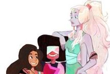 Garnet, Amethyst, and Pearl and STEVEN!!!!