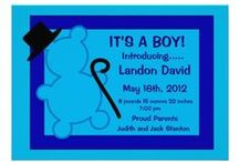Baby Boy Birth Announcements / Adorable baby boy birth announcements. Customize your own birth announcement at   http://www.zazzle.com/LaBebbadesigns*