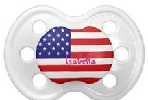 American Flag Baby Pacifiers / Give your baby the latest in pacifier fashion with a custom BooginHead® pacifier! Made with a silicone orthodontic nipple, this pacifier is designed to exceed all safety standards and look good with your custom printed text or graphics. Perfect for a baby's name or a witty expression, a custom pacifier is a fun way to get and give peace of mind. Two nipple sizes: 0-6 months & 6+ months. 100% BPA, PVC, & Phthalate free. http://www.zazzle.com/LaBebbadesigns*
