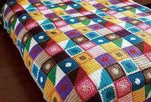 szydełko: koce, pledy / crochet blankets, rugs / większość szydełkowe kwadraty na koce