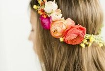 Flower Crowns + Hair Accessories / What to wear in your hair from flower crowns to jewels, these are the fun ways to add color and style to your day. Mod, boho, urban, forest, love.