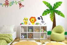 Jungle themed bedroom / Product and design ideas to accompany our jungle wall stickers in order to create an amazing jungle themed child's bedroom!