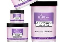 A Polymer Acrylic Powders / The A Polymer Salon Series is specially formulated to create long lasting, durable nails.  Pure, non-fade consistent color that is fast drying to give smooth texture with no bubbles.  #acrylics #acrylicnails #polymerpowder #ezflow #ezflownails #ezflownailsystems #ezflowacrylics