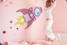 Space themed girls room decor / Space themes shouldn't just be for boys! Here's a collection of girl themed space room ideas, including a range girly wall stickers perfect for decorating your little science fan's room!