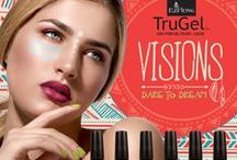 TruGel™ Visions Collection / Create a beautiful atmosphere filled with Good Vibes Only with EzFlow® TruGel™ Visions collection, this fall.  Ushered in by the Whispering Wind, weave a Tribal Tapestry of beautiful nail designs and get lost in a Red Willow forest of color with these six rich shades plus bonus gold leaf nail embellishment.  The Visions collection will take you on a journey to wisdom, vitality and inner peace without ever leaving the salon.