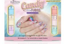 Design Colored Acrylic candyFLOSS Collection / Indulge your sweet temptations with EzFlow's newest Design Colored Acrylic Collection – candyFLOSS. A delectable treat, these six dreamy acrylic powders create confectionary color combinations that'll satisfy your nail design cravings. #ezflowcandyfloss