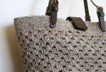 włóczkowe torby i torebki +etui / torebki ( duże i małe) robione z włóczki szydełkiem lub na drutach