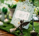 Elven Wedding Theme / Elven / Lotr / Lord of the Rings Wedding Design and Decor. Diy Wedding. Bride and Groom. Table setting. Moss & Green & Blue & White & Manzanita