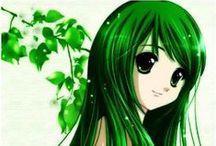 Girl @ Anime (Hair:Green)