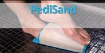 Pedisand /  Pedisand is a hands free foot file. Ergonomically designed to enable people to remove dead, dry, cracked, callused skin from their feet without the use of their hands. Created to contour the entire sole and sides of the foot.  A wide abrasive surface for extra coverage, comfort, durability and fast use.  Enables use of largest muscle group to ease work and get quick, lasting results!