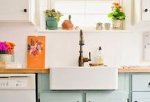 Meredith's Kitchen, Dining & Table Loves / I favor Scandinavian style, bright color, fun surprises, farm sinks and general, all-around cuteness.