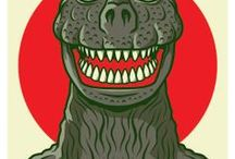 Characters (Kaiju) / Kaiju Illustrations, Posters, Photos/Stills, Figurines/Toys, etc. (Including Daikaiju & Related Tokusatsu: Gojira (Godzilla), Gamera, Mothra, King Ghidorah, Mechagodzilla, Anguirus, Rodan, Ultraman, etc.) • Pinterest.com/ScottMonaco • More at: QuietYell.com