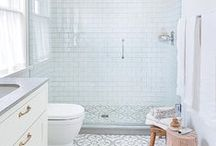 bathrooms / Loves:  patterned tile/ striking fixtures / bright whites