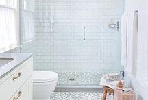 bathrooms / Loves:  patterned tile/ striking fixtures / bright whites
