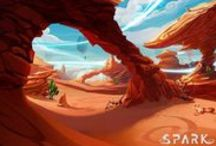 Environments (Desert) / Illustrated Desert Environments/Backgrounds (Including Canyons and Desert-Like Environments (e.g. The Planet Mars)) • Pinterest.com/ScottMonaco • More at: QuietYell.com