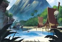Environments (Tropical & Island) / Illustrated Tropical Environments/Backgrounds (Including Islands, Beaches, Tropical Jungles, Etc.) • Pinterest.com/ScottMonaco • More at: QuietYell.com