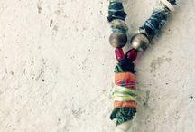 Handmade Jewelry. Recycled. Textile. Fiber Art. By Helen Vigil.