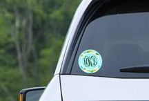 Monogrammed decals and stickers / Glossy vinyl decals for indoors and out.  Printed on 3 year rated outdoor vinyl but also suitable to use on tumblers, glasses, cups, mugs, tablets, computers and phones.